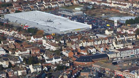 Aerial shot of Clacton from 2009 showing the former gas holders. Picture: Mike Page.