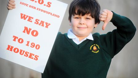 Youngster Stan Alsopp, goes to public meeting over 190 new homes proposed in Stowupland as he's angr