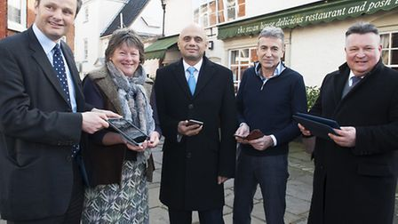 Secretary of State for Culture,media and transport Sajid Javid visits Beccles to talk about the roll