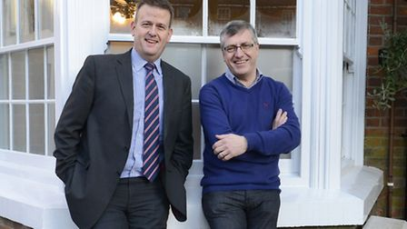 From left, Ian Monaghan of NatWest and Rob Brown of the North Hill Hotel.