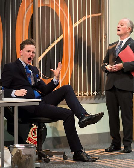 Thomas Pickles (Alan), Robert Gill (Frank) in Sign of the Times at the Theatre Royal, Bury St Edmund