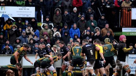 Bury St Edmunds entertain London Irish Wild Geese in difficult conditions at the Haberden on Saturda