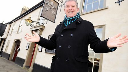 David Pink outside the One Bull in Bury St Edmunds. David appeared in a Lovejoy television episode w