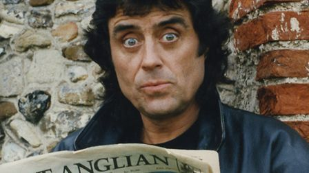 Ian McShane better known as Lovejoy, reading the East Anglian Daily Times during a break in filming
