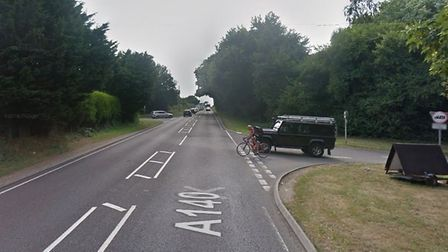 The A140 junction with Brick Kiln Lane where motorists are experiencing long delays due to temporary