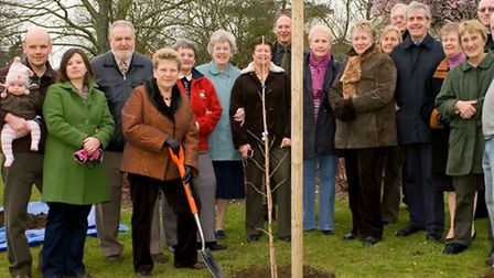 Jenny Briggs with family and friends from the Sudbury in Bloom committee when Philip Briggs' memoria