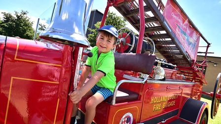South Norfolk Show. Toby Fearn, 5, on a 1935 Leyland CubFK1 fire engine last year. Picture: ANTONY K