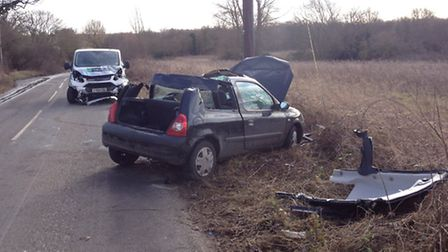 The two-vehicle collision in Lower Road, Shelland near Stowmarket