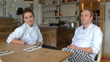 Darsham Nurseries head chef Lola DeMille and chef Tom Eagle in the cafe where they are donating mone