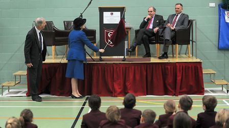 The official opening of the new South Lee School sports hall at the Victory Ground in Bury by the Co