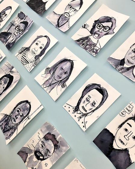 Portraits of staff done by new pupils that have gone on display in the staff room. Picture: Archbish