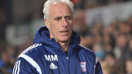 Mick McCarthy watches on at Portman Road