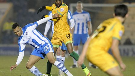 Colchester United man of the match Jacob Murphy, playing against Yeovil tonight