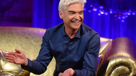 Phillip Schofield during filming for Alan Carr's Chatty Man Christmas special. Pic: PA