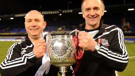 Dean Greygoose, right, who has been appointed as the permanent manager of Mildenhall Town