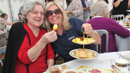 Vera-Anne Green and Cathy Sedgwick . Photo: Hartismere Place care home