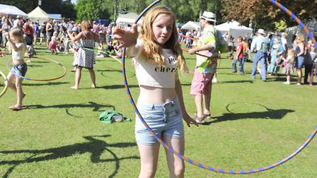 Natasha Fordham, 11, hula hoops at the Weird and Wonderful Wood in Wetherden on Sunday, 18 May.