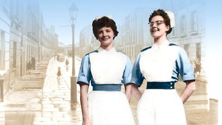 A young Christine and Jennifer in uniform. Photo: The Midwife's Sister/Christine Lee