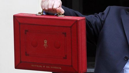 Chancellor of the Exchequer George Osborne with his Ministerial Box outside 11 Downing Street.
