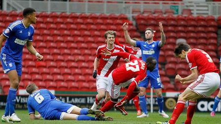 Middlesbrough's Albert Adomah (centre) celebrates with after scoring his side'sgoal during the Sky B