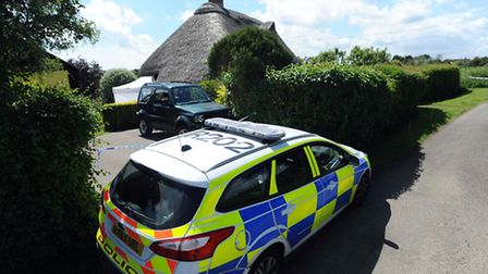 Police at the house of Harold and Wendy Ambrose in Chapel Road, Boxted.