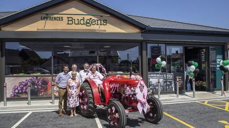 Carol Wiles and Annie Chapman with the Lawrences at the new Harleston service station. Picture: Ian