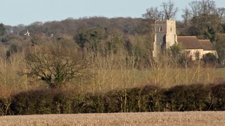 View of Edwardstone church from the field where the proposed solar farm panels would have been sited