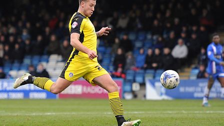 George Moncur smashes home the opener in the U's 2-2 draw at Gillingham