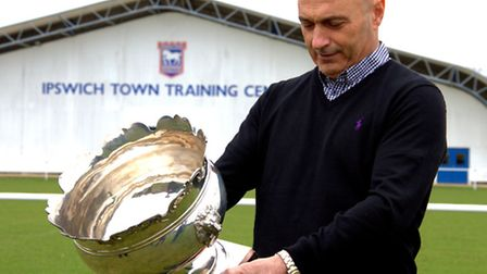 Ipswich Town's Simon Milton with the Hospital Cup