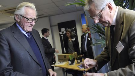 Lord Heseltine visited the Suffolk Chamber of Commerce where he met with local business Naughty Shee