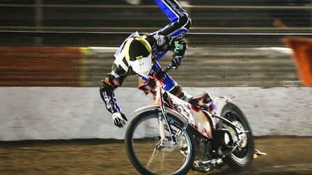 Witches skipper Ritchie Hawkins crashes out of heat 2 in the Billy Sanders Memorial Meeting at Foxha