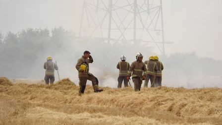 Firefighters were called to tackle a field fire at Lion Road at Palgrave. Picture: Hannah Frary/HLF