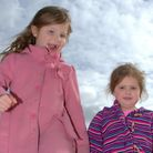 Eloise and Keeley play on the beach at Felixstowe at the start of the Easter holidays.