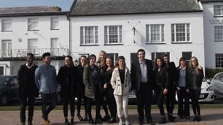 The Suffolk One hotel management students at Aldeburgh.