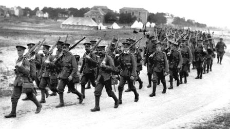 British infantrymen on the march in 1916 in Northern France during the First World War. Photo: PA Wi