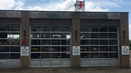 Diss Fire Station flies its support for England ahead of the semi-final. Photo: Simon Parkin