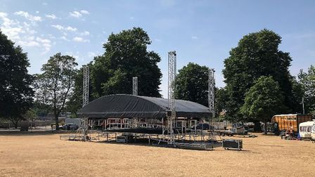 The stage being setup. Picture: Max Dixon