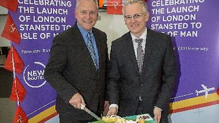 Flybe regional general manager UK (south) Paul Willoughby and Stansted Airport managing director An