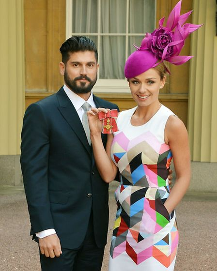 A proud day for Jenkins as she receives her OBE with her now husband Andrew Levitas.