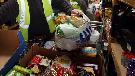 Food Bank preparing food parcels as part of Trussell Trust project. Picture: David Jones/PA Wire
