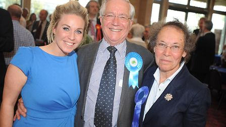 Brian Riley celebrating with his daughter Kate and wife Alice on his election to the county council