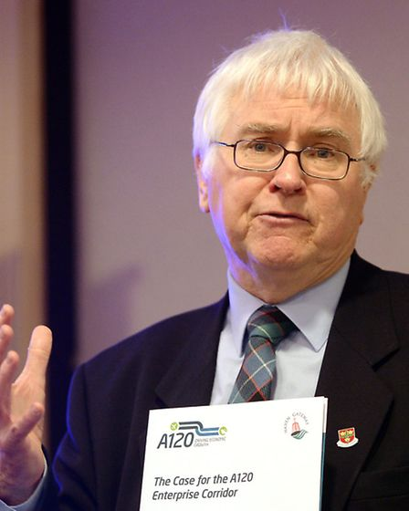 Colchester MP Sir Bob Russell speaking at the A120 event at the Marks Tey Hotel
