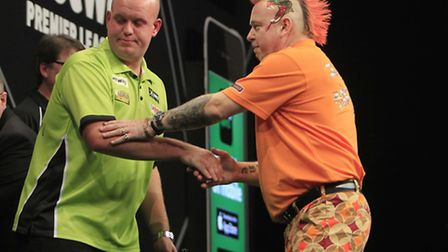 Michael van Gerwen and Peter Wright shake hands after last night's draw
