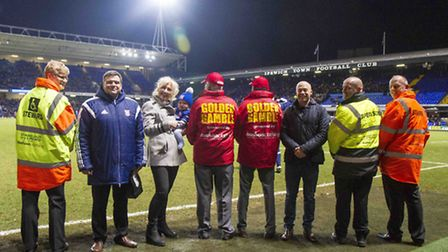 Ipswich Town FC steward Nicola Martin, ex-player Mick Stockwell, Hudson Clothing sales manager Judy