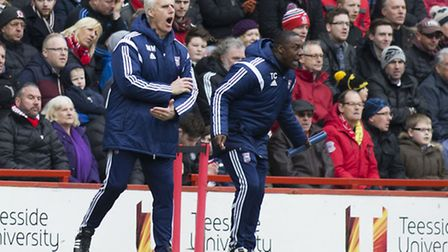 Mick McCarthy and Terry Connor shout instructions at The Riverside