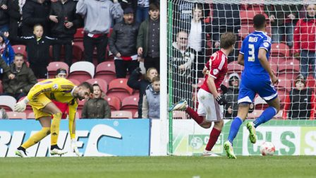 Middlesbrough's Patrick Bamford nets the first of his two goals against Ipswich Town on Saturday. Ph