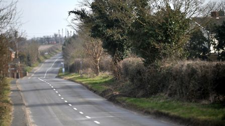 Saxmundham Road, Friston, where a fatal accident happened on Tuesday, March 10.