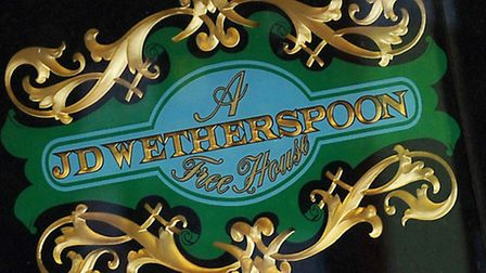 File photo dated 15/03/13 of a JD Wetherspoon logo, as JD Wetherspoon reported a drop in profits aft