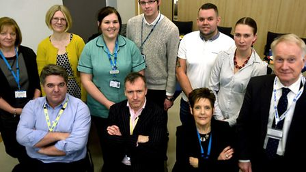 West Suffolk Hospital NHS Trust Dragons event. Back row from left to right: Jackie Rayner, sister, w