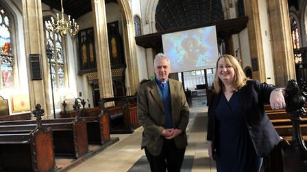 The new community cinema launched in St Mary's Church in Bury. Joanna Rayner and Rev Cannon Malcolm